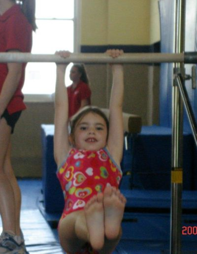 Caroline at gymnastics - I tried to give her every opportunity and was always there to cheer her on